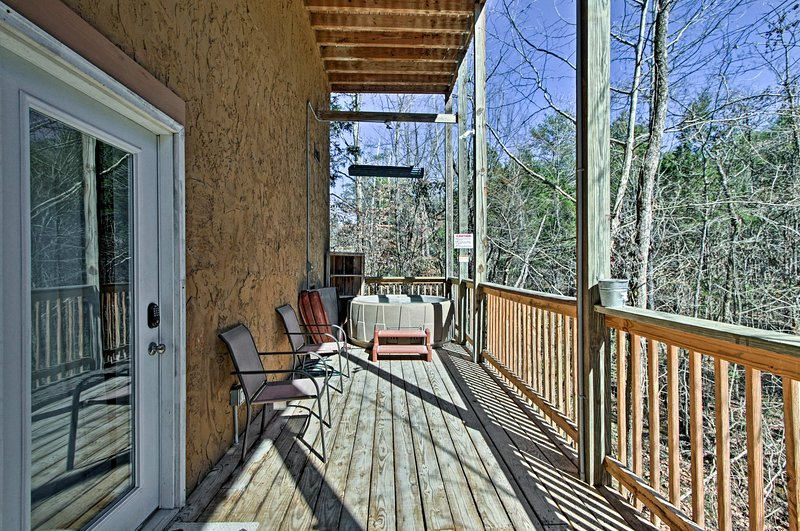 You'll find the hot tub outside on the lower deck.