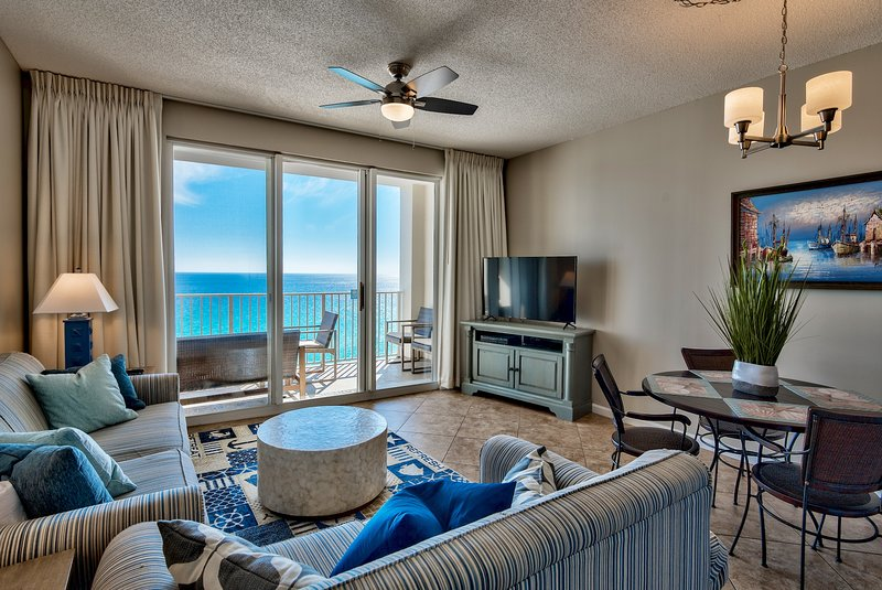 Recently renovated unit with unobstructed ocean views and coastal themes.