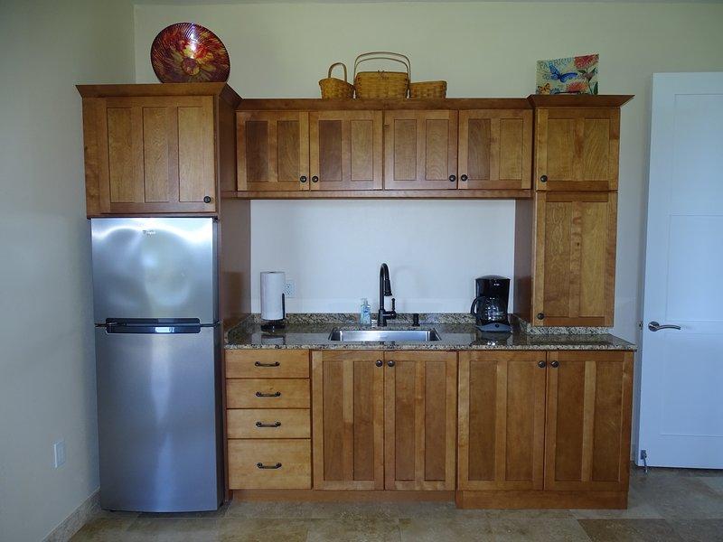 Cocina con microondas y una estufa de Nu-Wave. La parrilla de gas está en el porche!