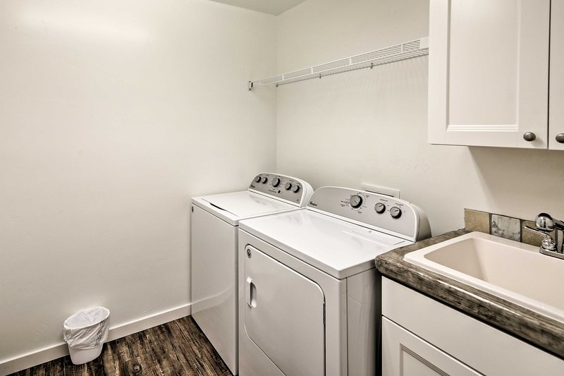 You'll love the convenience of having in-unit laundry machines in the home.