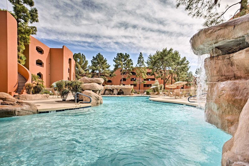 The condo offers access to 5 lagoon-style pools!