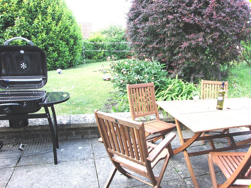Large Garden with patio furniture and BBQ
