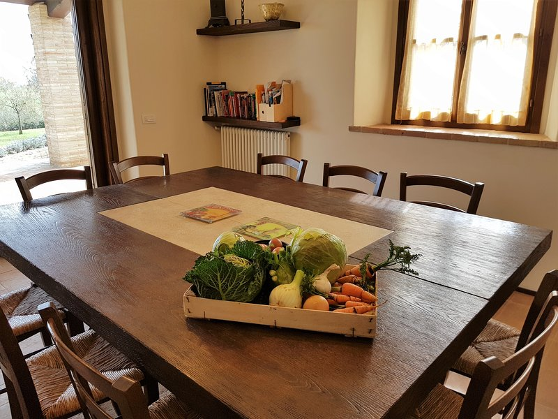 The dining room and the vegetables from the garden