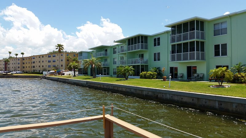 View of the condos from the fishig dock.