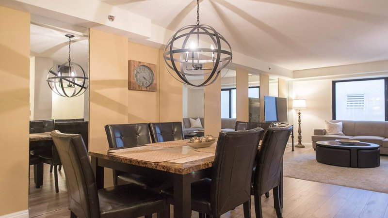 Open concept dining and living area.
