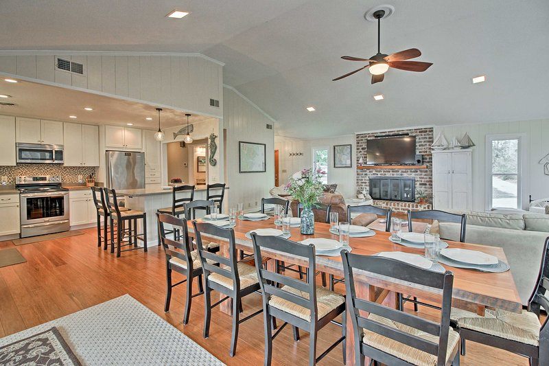 After fishing, relax in the beautifully furnished open-concept living area.