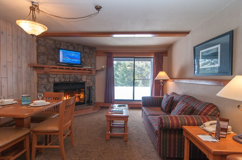 Relax in the cozy living area and enjoy the beautiful fireplace.