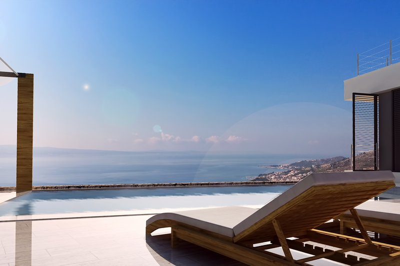 32 sqm pool with massage, opened sea and coast views, spacious sundeck area