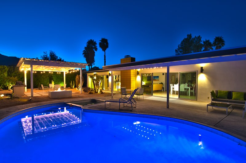 Mid Century Gem, back yard oasis with pool, hot tub, BBQ, and fire pit, and two covered patios