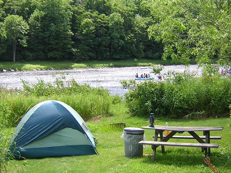 Riverfront campsites available for your additional guests. And we supply the tent!