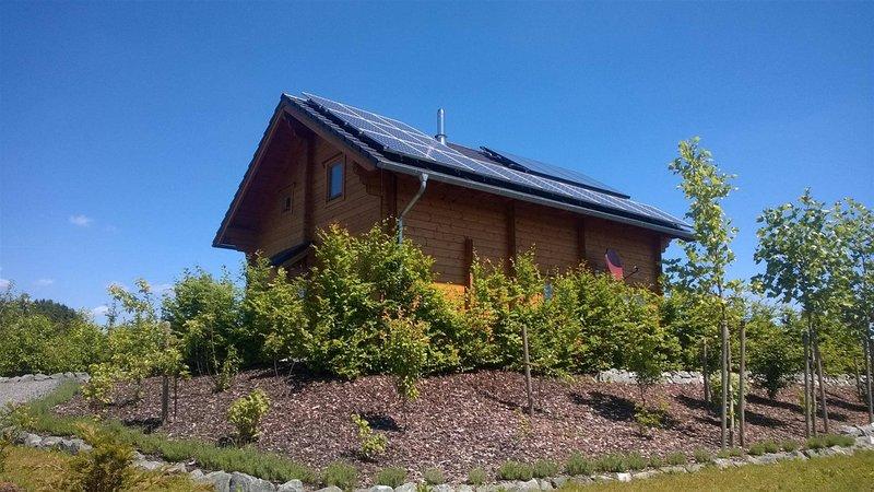 casa ecologico con pannelli solari per l'energia elettrica e collettori per il riscaldamento e l'acqua calda.