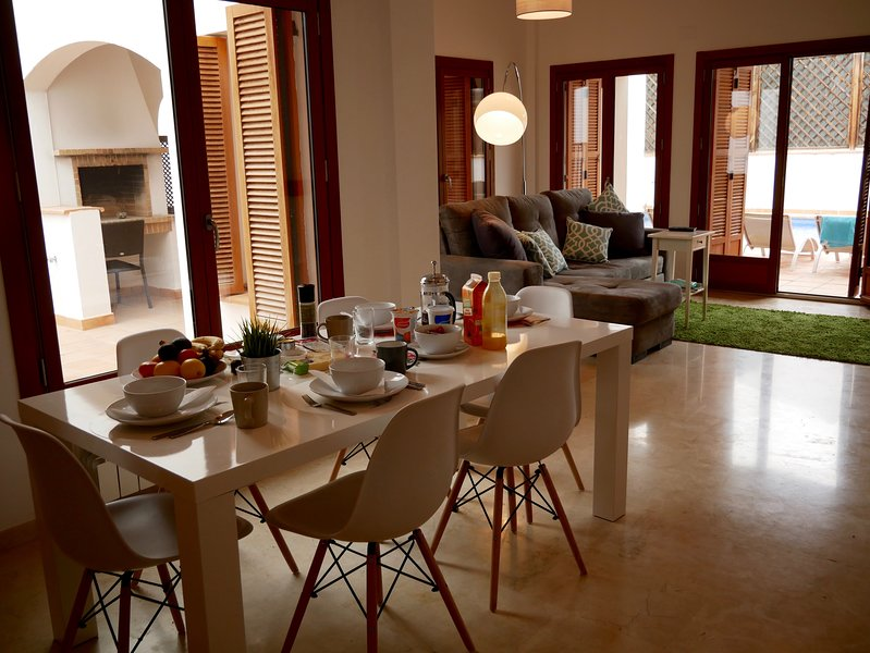 Lovely large lounge diner with patio doors leDing out to Private Pool.