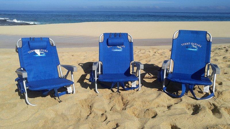 Tres sillas de playa de calidad previstos para su uso personal!