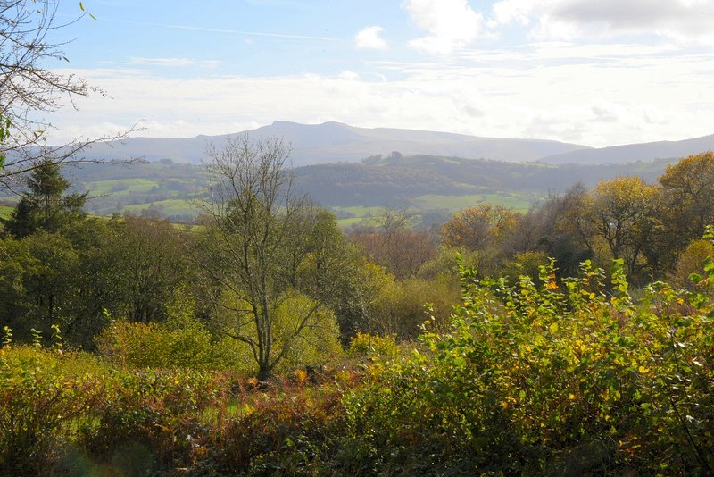 View of Pen y Fan from the road above Barnfield Cottage. There are many enjoyable walks in the area.