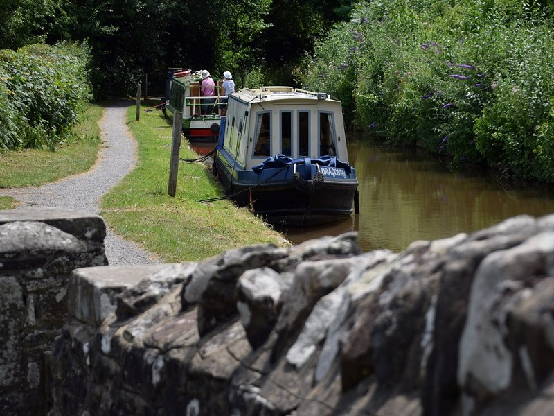 The tranquil Monmouth & Brecon Canal 5 strides from the front door