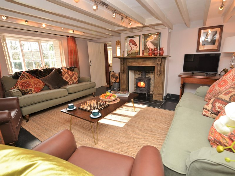 Beautifully presented lounge with wood burner