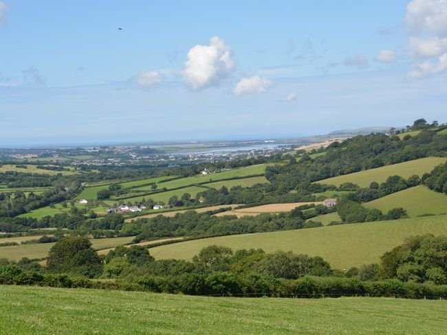 Countryside views towards the estuary and the sea
