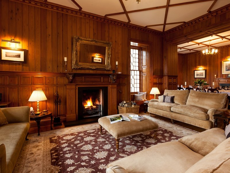 Spacious lounge with open fire