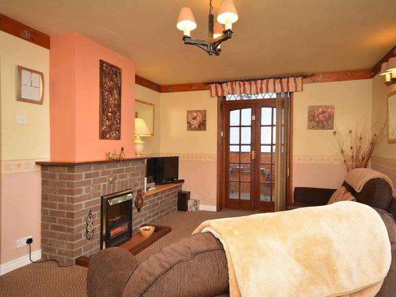 sala de estar com efeito de fogo e portas de gás levando a jardim de Inverno