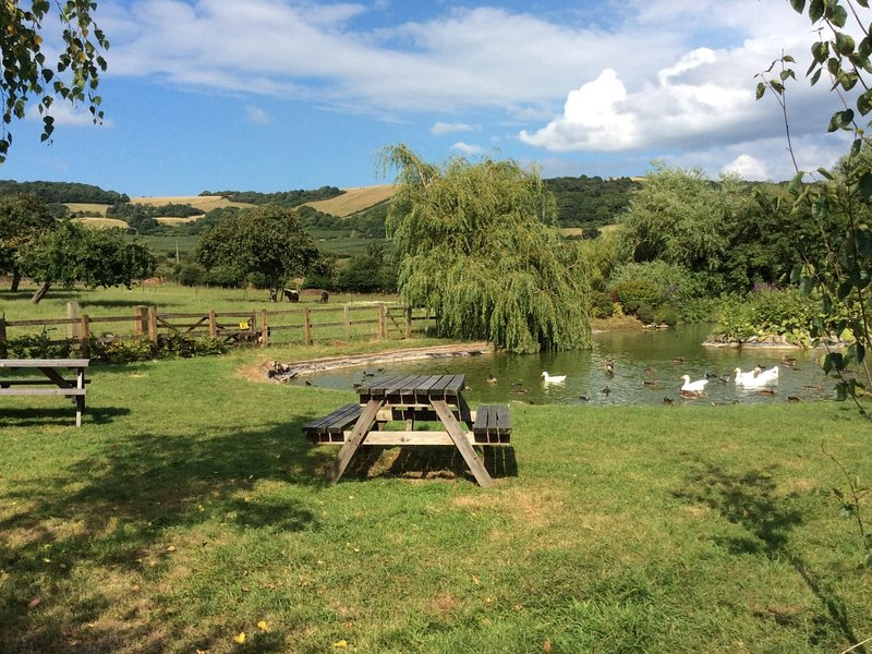 The duck pond with seating with beautiful Somerset views