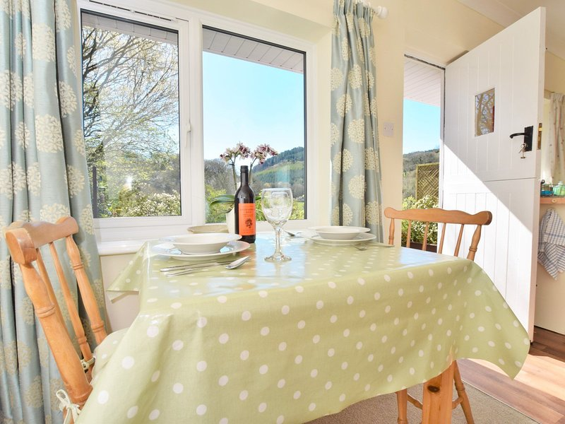 Dining area with views across the rolling countryside