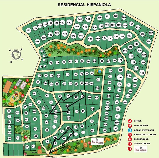 Residencial Hispaniola Map identifying Villa 15 and the Entrance Gate