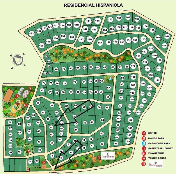 Residencial Hispaniola Carte d'identification Villa 15 et la Porte d'entrée