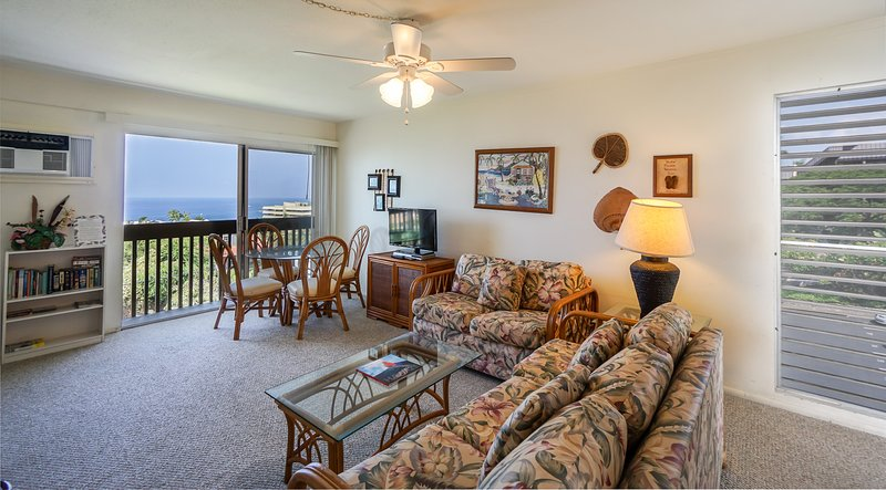 Kona Mansions #C305 - Living room and lanai