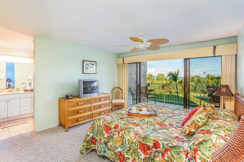 Keauhou Punahele #B202 - Master bedroom with Lanai