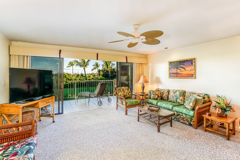Keauhou Punahele #B202 - Living room with TV
