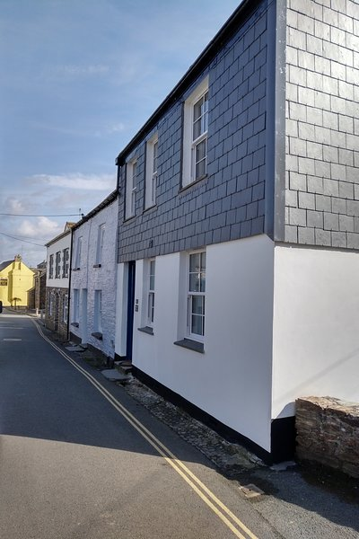 The Police House is the nearest building and the yellow one is The Golden Lion, central Padstow.