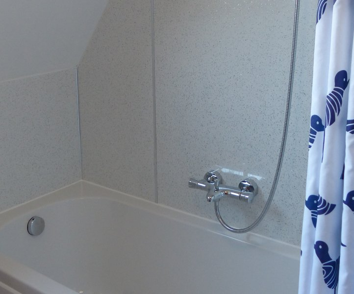 Bath with Thermostatic overhead shower (great water pressure)