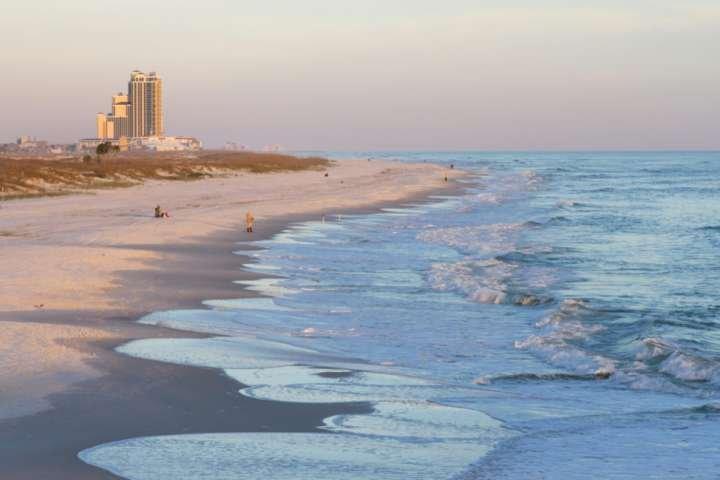 Sunset view of beach and Gulf