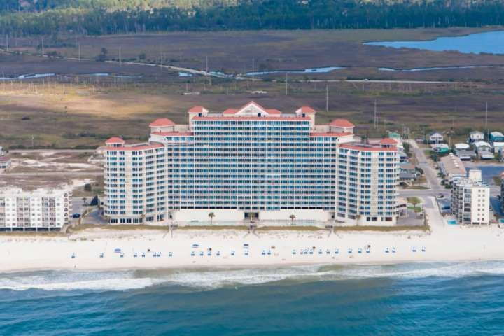 Lighthouse Resort aerial from Gulf