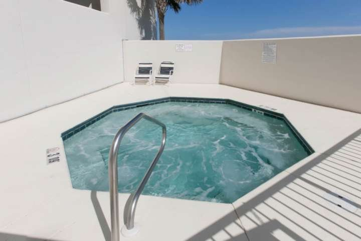 One of two community hot tubs