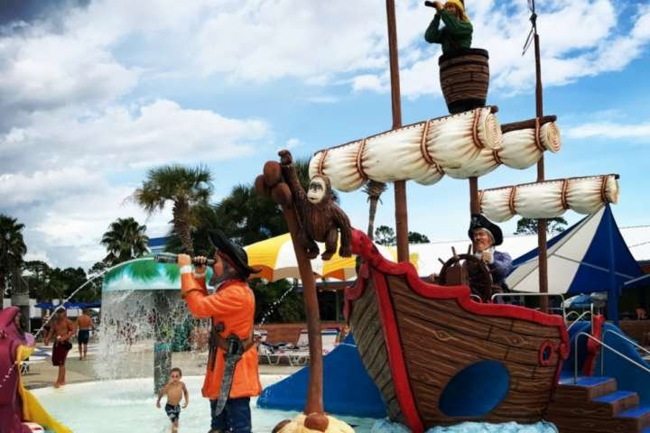Waterpark play area with pirate ship