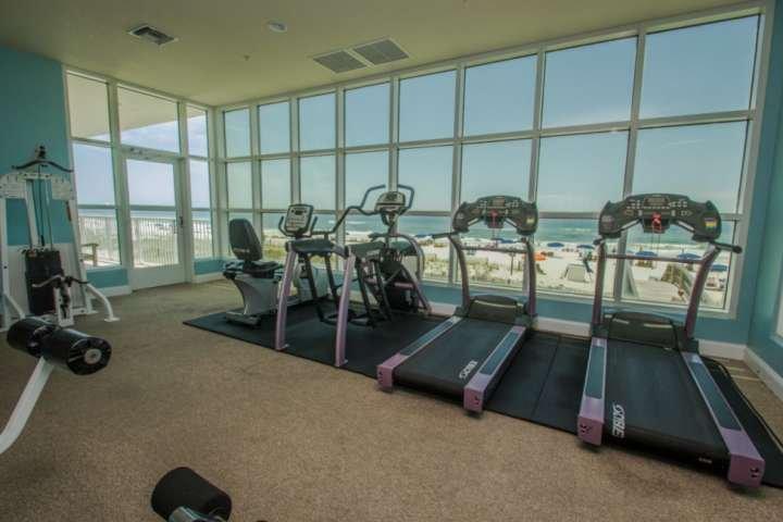 Community fitness center cardio equipment