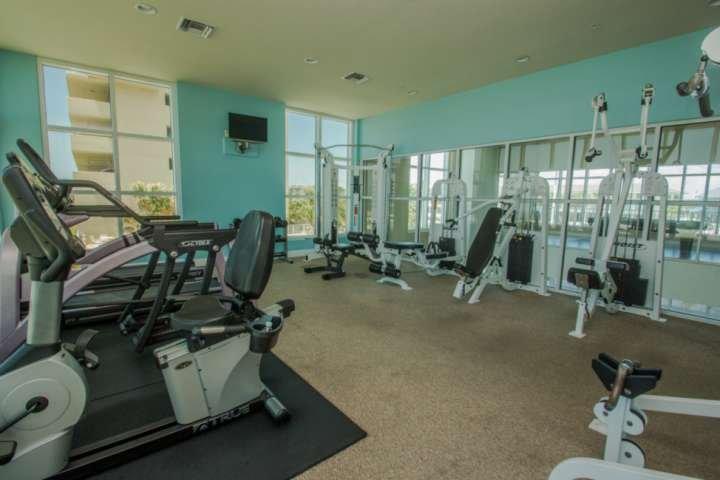 Community fitness center weight training equipment