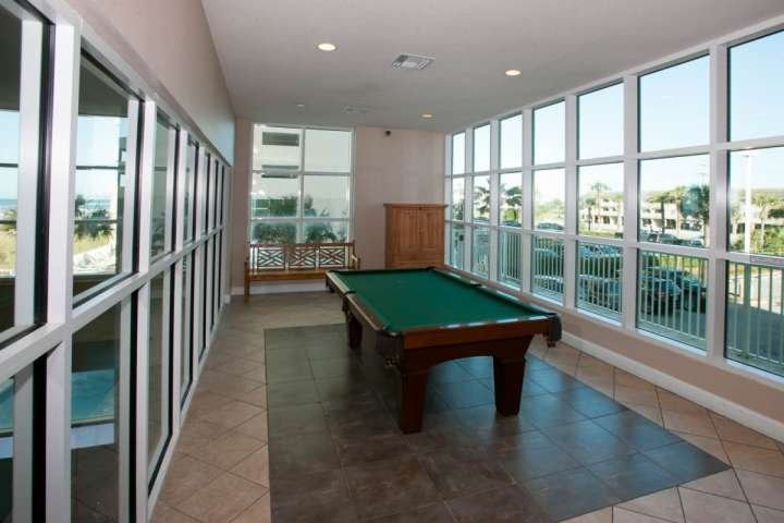 Community game room with regulation pool table