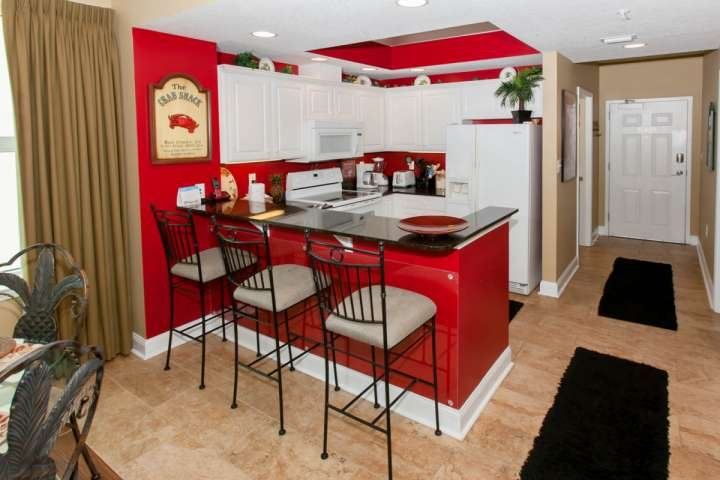 Breakfast bar with seating for 3 and landline