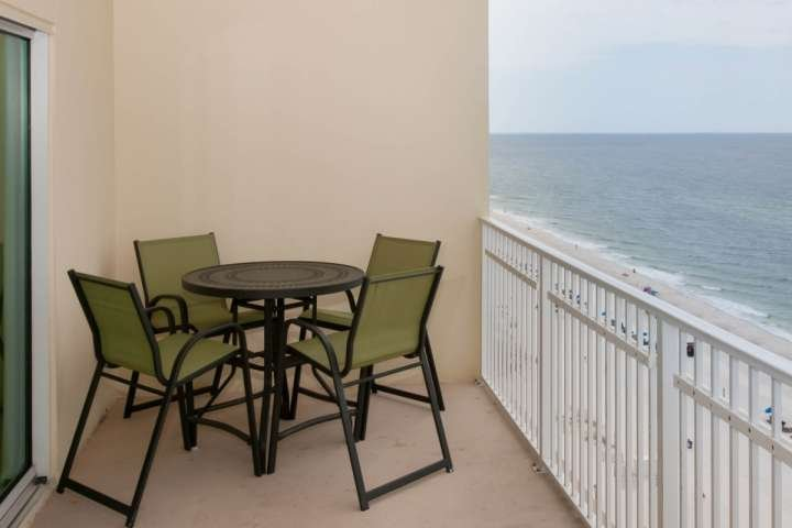 Gulf-front patio with dining set