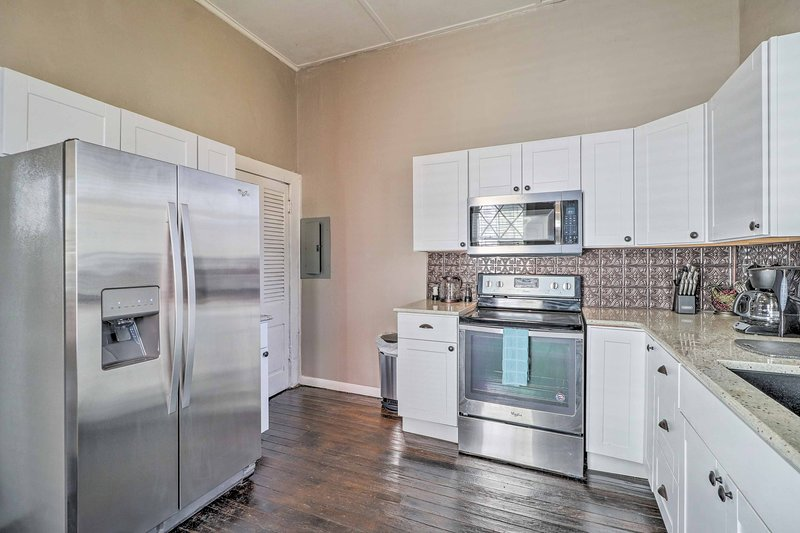 Enjoy using the stainless steel appliances.