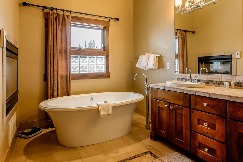 Master bathroom with jetted tub and fireplace.