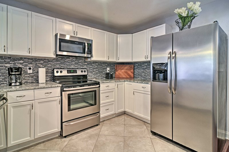 Shiny and new, these stainless steel appliances are just glowing!