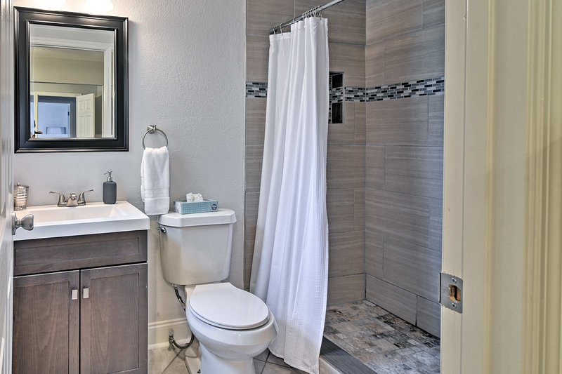 Rinse off after a day at the beach in the en-suite bathroom's walk-in shower.