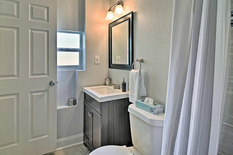Natural light fills the bathroom as you prepare for another day in Tampa bay.