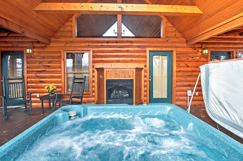 A gas fireplace can also be found out on the deck.