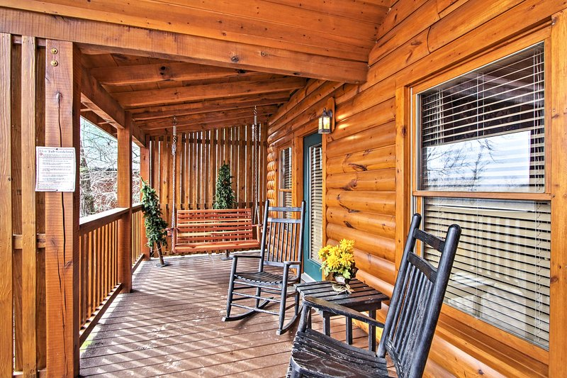 Enjoy your morning coffee on the deck's rocking chairs.