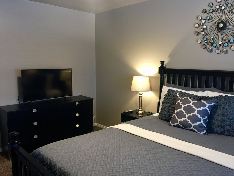 Relax in bed while watching your 43' flat screen HD TV.