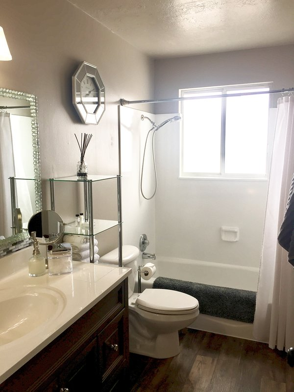 Bathroom has combination tub/shower.